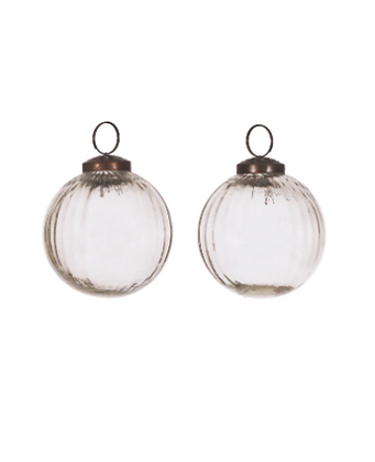 Murrine Clear Recycled Glass Bauble Set of 2