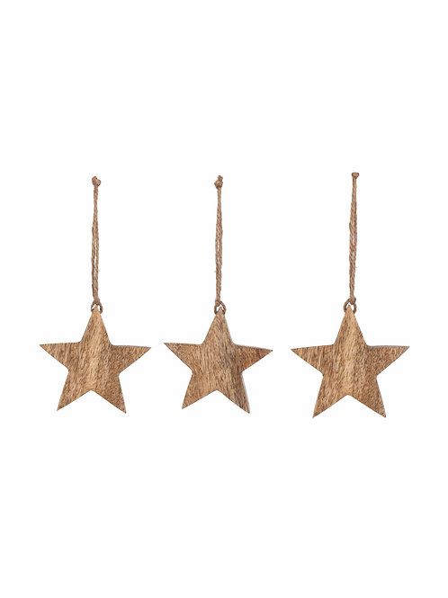 Mango Wood Set of 3 Hanging Stars