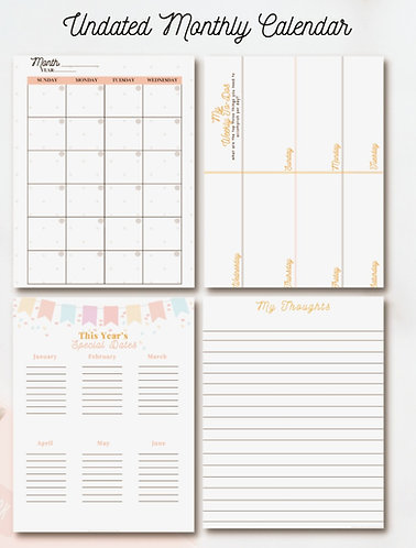 Yellow Monthly Planner, Undated, Printable