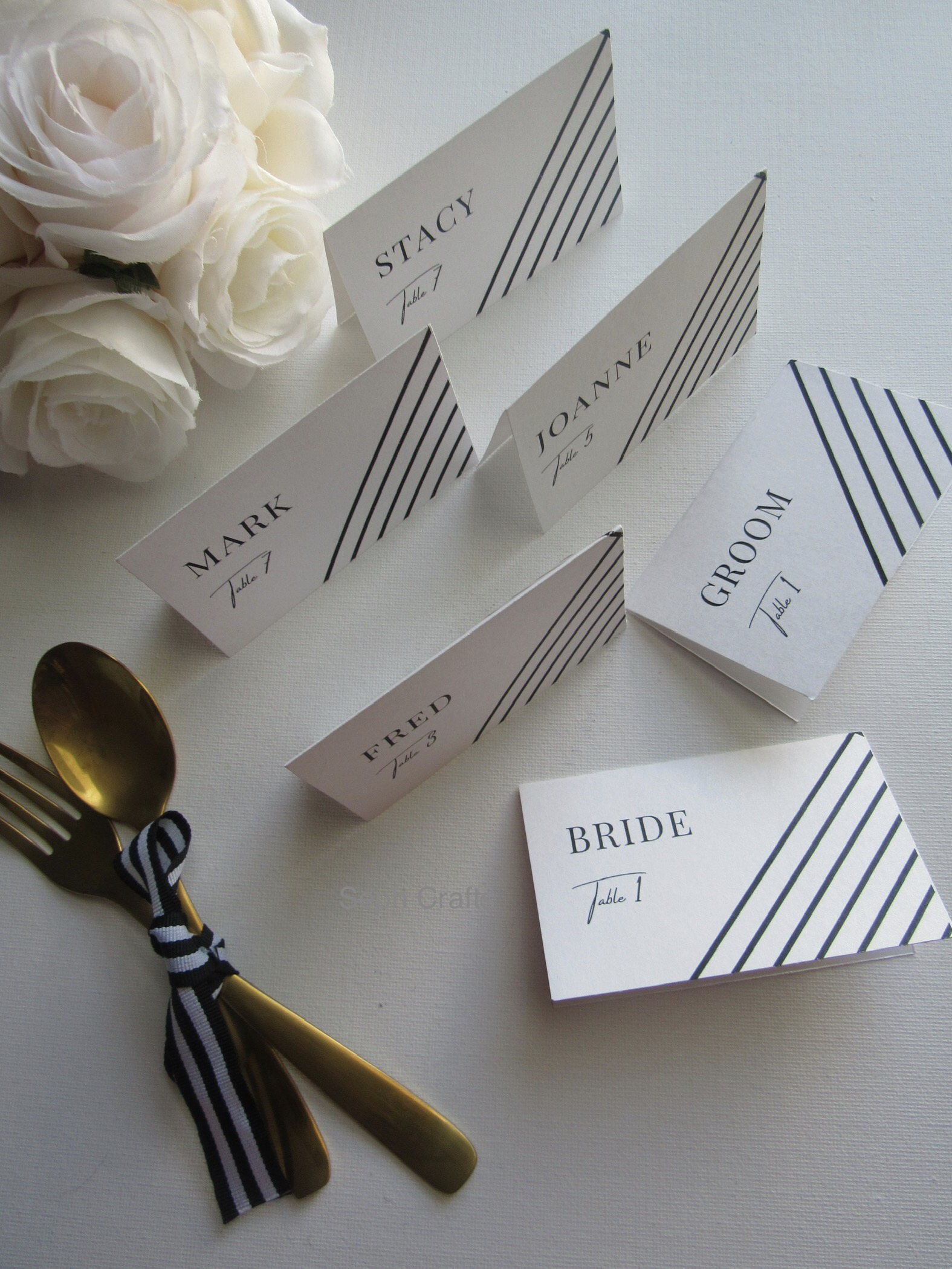Striped Place Cards