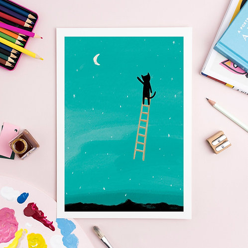 Cat Ladder to the Moon Print