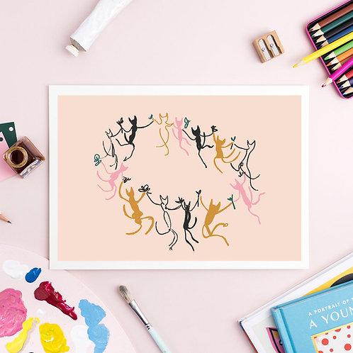 Picatso Dancing Cats Print