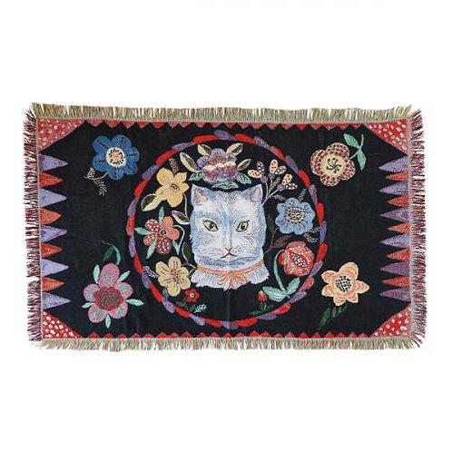 Nathalie Lete Tapestry Rug Blue cat