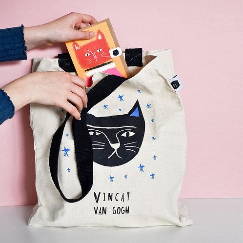 Vincat Van Gogh Cat Tote Bag
