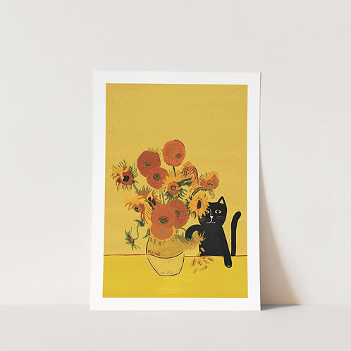 Sunflower Cats Art Print