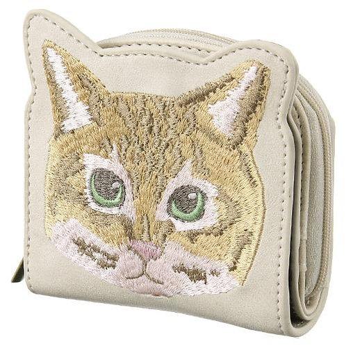 ねこ刺繍 2つ折り財布