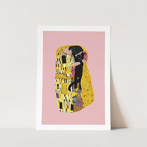 Klimt Cat Kiss Art Print