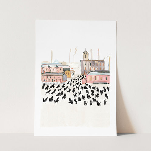 Meowry Stick Cats Art Print