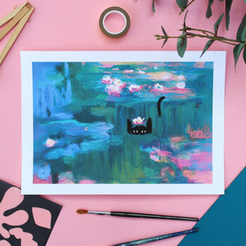 Water Lily Cat Art Print