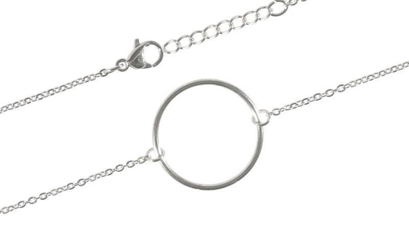 """Bracelet chaine """"Circle"""" argenté"""