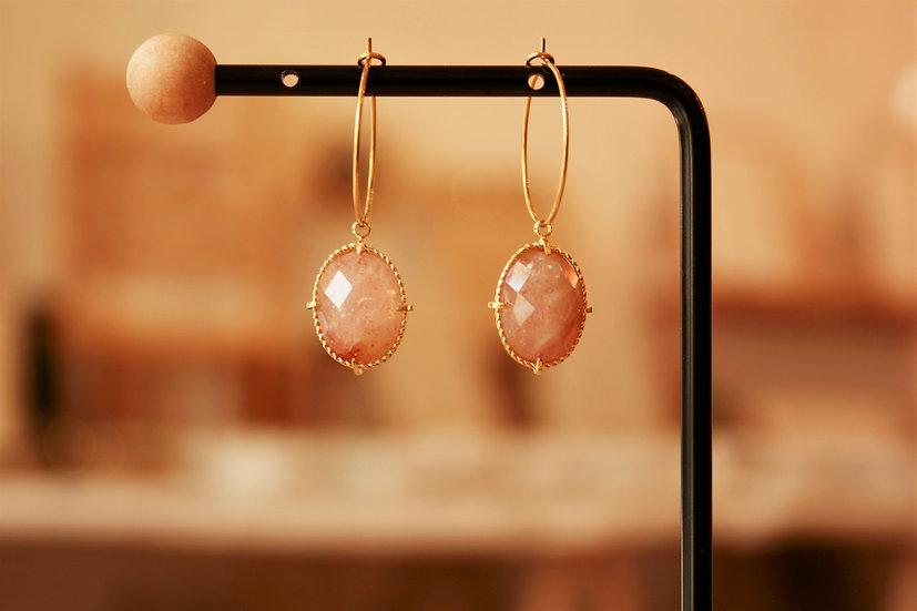 Créole doré pierre rose