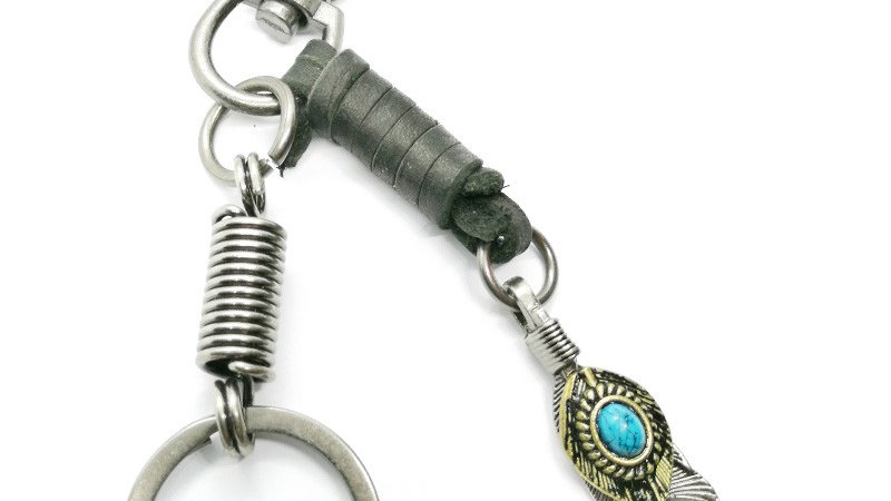 """Porte-clés """"Plume pierre turquoise"""" noir"""