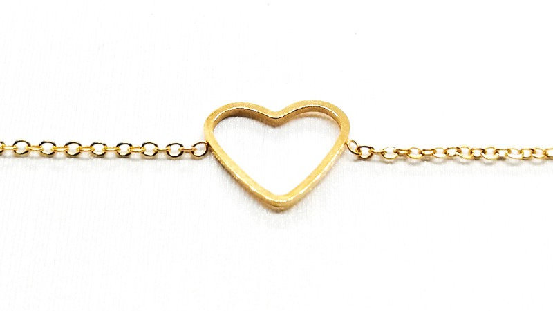 """Bracelet chaîne """"Cœur"""" - Doré"""