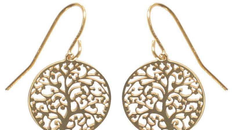 Boucles d'oreilles pendantes arbre de vie doré