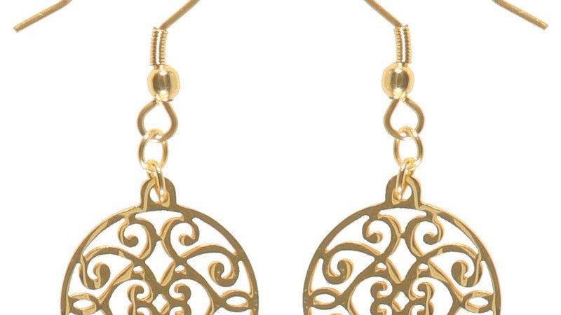 Boucles d'oreilles pendantes arabesque doré