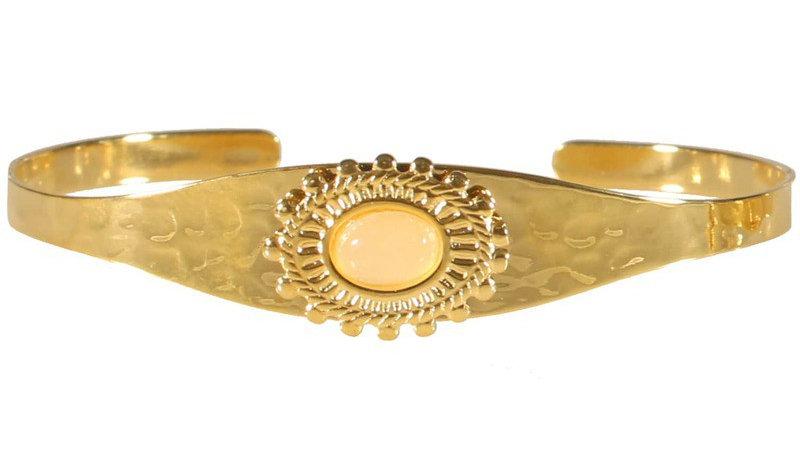 """Bracelet jonc """"Martelé et pierre blanche"""" doré"""