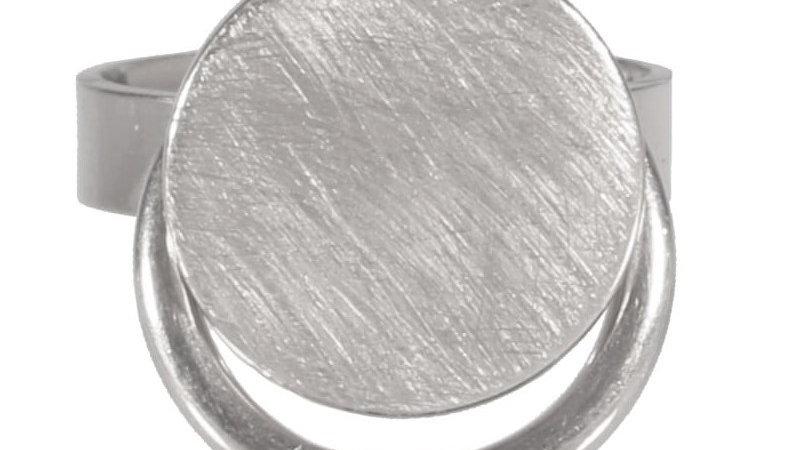 """Bague """"pastille ronde et cercle pendant"""" argenté"""