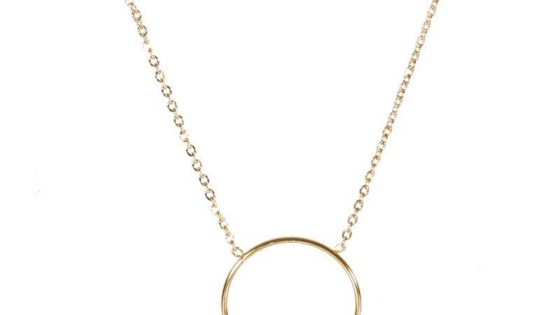 Collier avec pendentif cercle et pampilles en acier doré