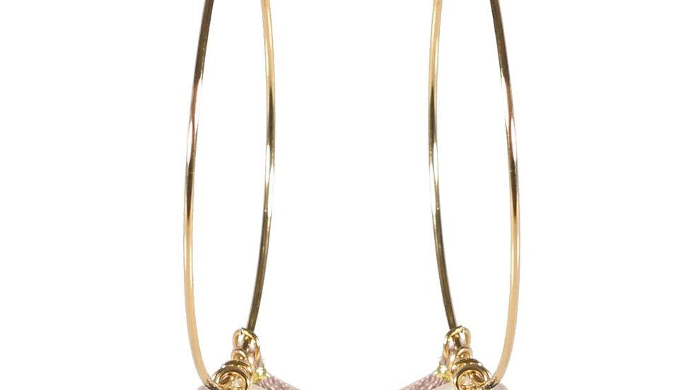 Boucles d'oreilles créoles en acier doré avec pendants