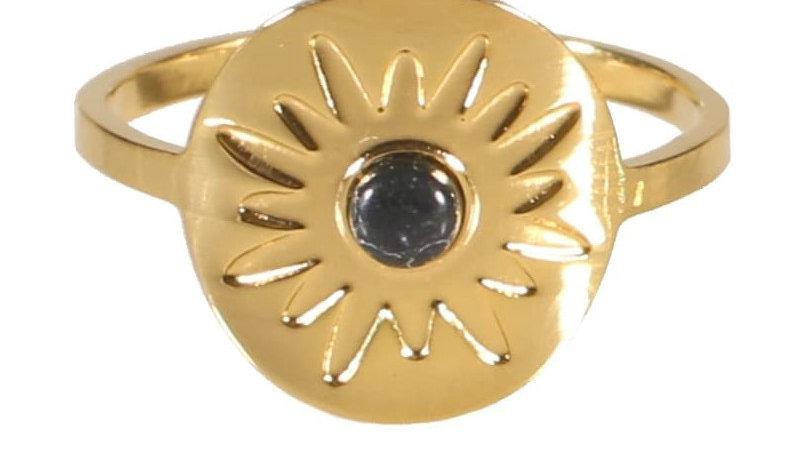 """Bague """"Soleil perle noir"""" doré"""