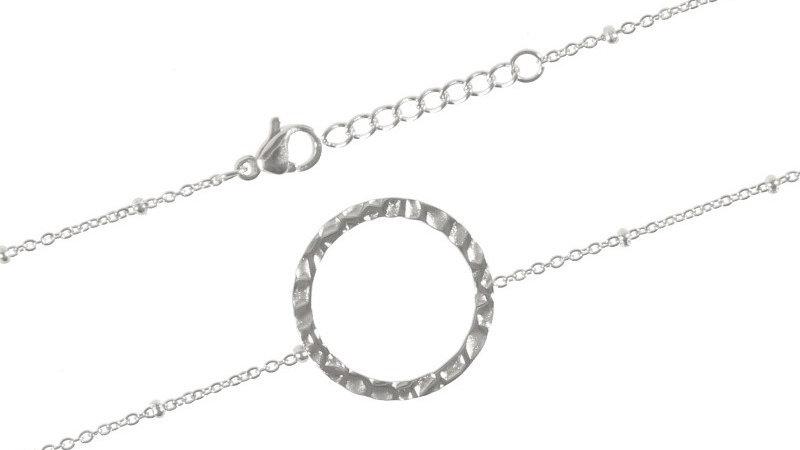 """Bracelet chaine """"Cercle martelé"""" argenté"""