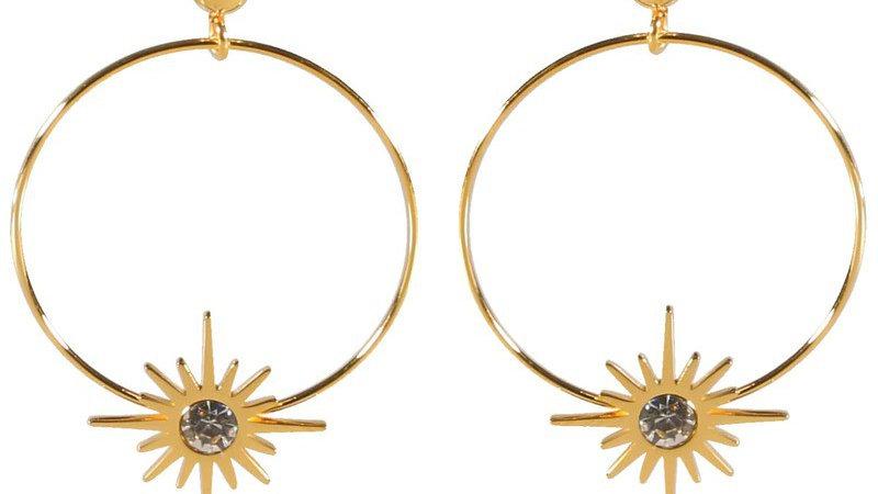 Boucles d'oreilles pendantes doré cercles et étoiles