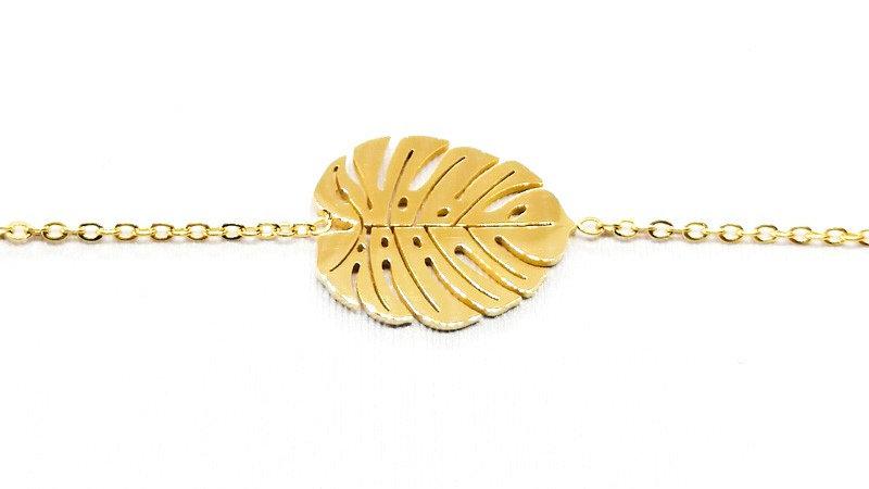 """Bracelet chaîne """"Feuille Exotique"""" - Doré"""