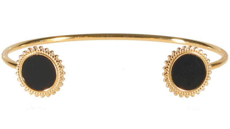 """Bracelet jonc """"Deux médaillons soleil noire"""" doré"""