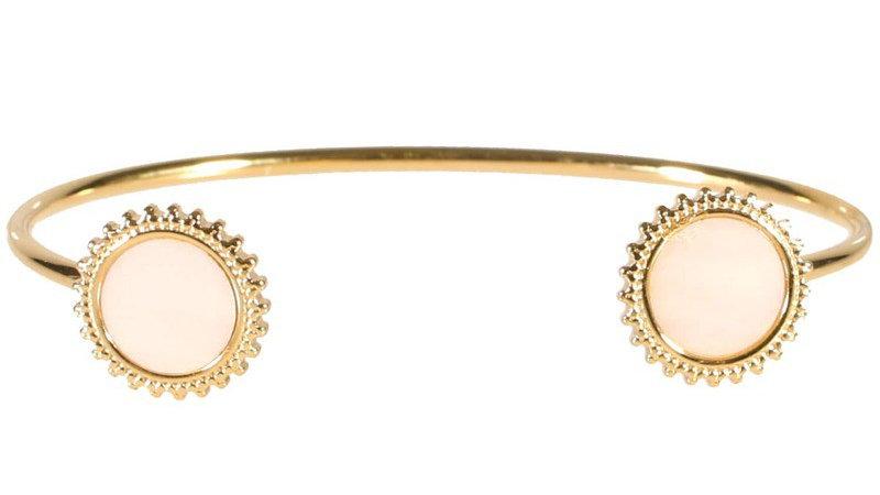 """Bracelet jonc """"Deux médaillons soleil nacre blanc"""" doré"""