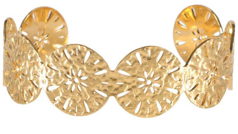 """Bracelet manchette """"Fleur ajourée"""" doré"""