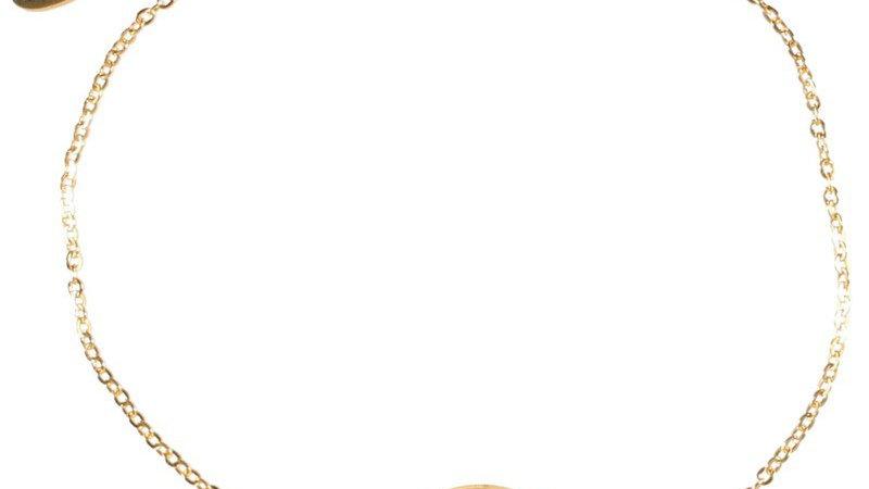 """Bracelet chaine """"Médaille étoile pierre noire""""doré"""