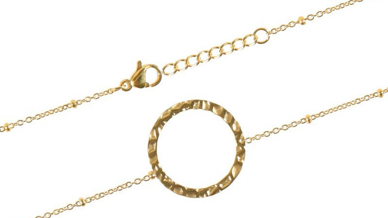 """Bracelet chaine """"Cercle martelé"""" doré"""