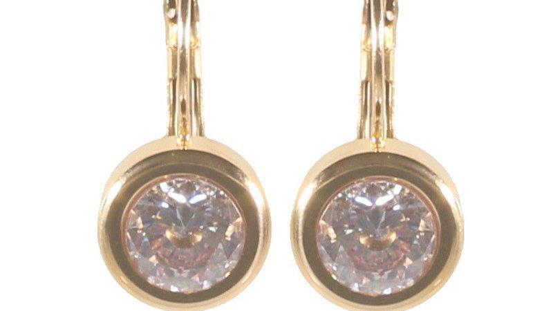 Boucles d'oreilles pendantes doré et oxyde de zirconium