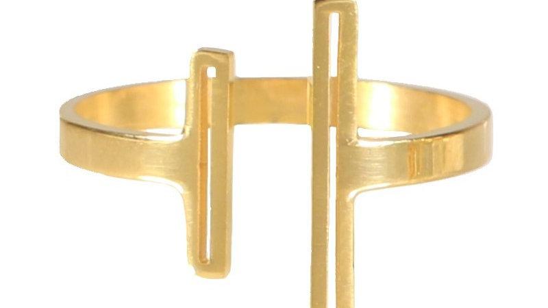 """Bague """"Deux barres"""" doré"""
