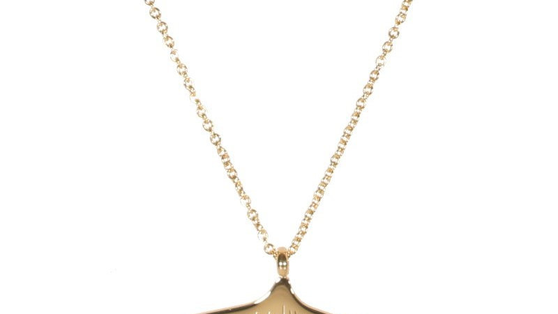 Collier avec pendentif feuille de ginkgo en acier doré