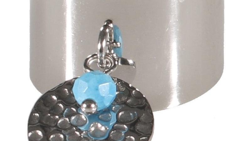 """Bague """"pastille martelée perle bleu"""" argenté"""