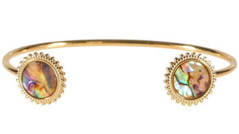 """Bracelet jonc """"Deux médaillons soleil nacre"""" doré"""