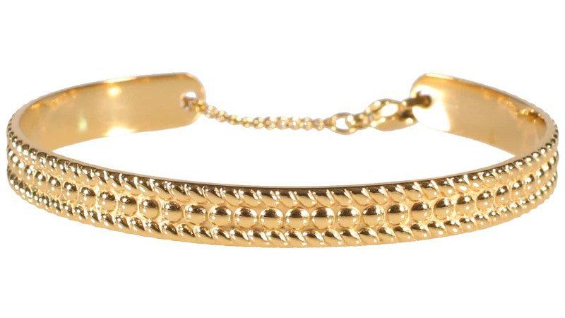 """Bracelet jonc """"Texturé chaine"""" doré"""