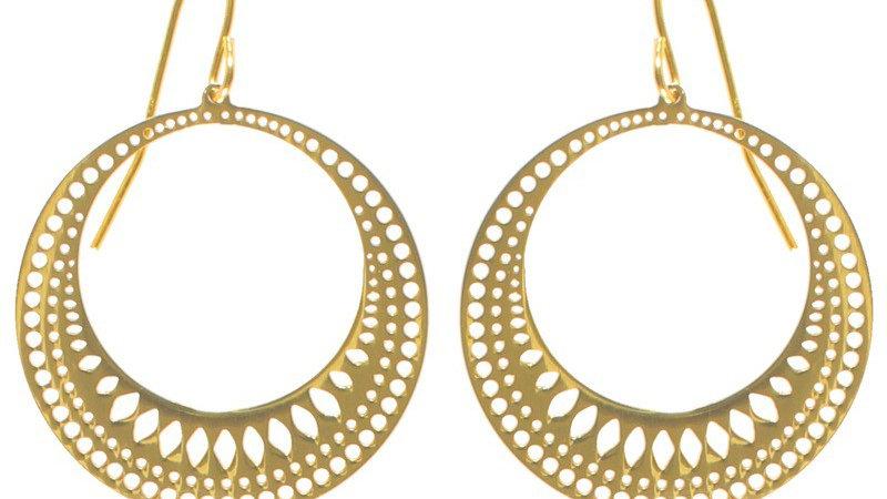 Boucles d'oreilles pendantes cercle de lumière doré
