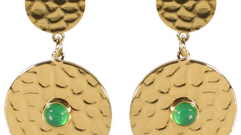 Boucles d'oreilles pendantes doubles pastilles martelées doré et pierres verte