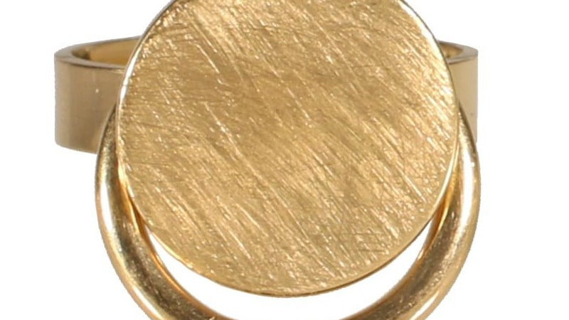 """Bague """"pastille ronde et cercle pendant"""" doré"""
