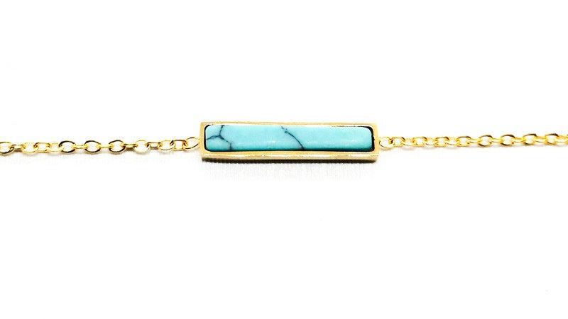 """Bracelet chaîne """"Pierre Turquoise"""" - Doré"""