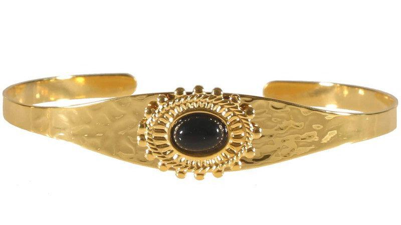 """Bracelet jonc """"Martelé et pierre noire"""" doré"""