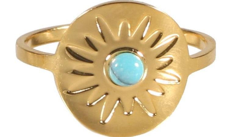 "Bague ""Soleil perle bleu"" doré"
