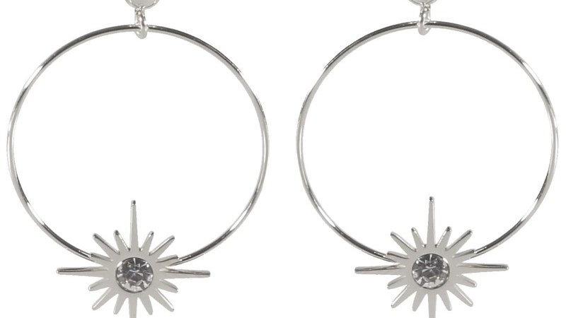 Boucles d'oreilles pendantes argenté cercles et étoiles