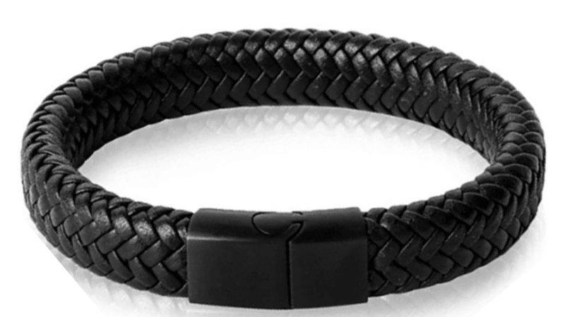 """Bracelet """"Tissé"""" - Cuir noir"""