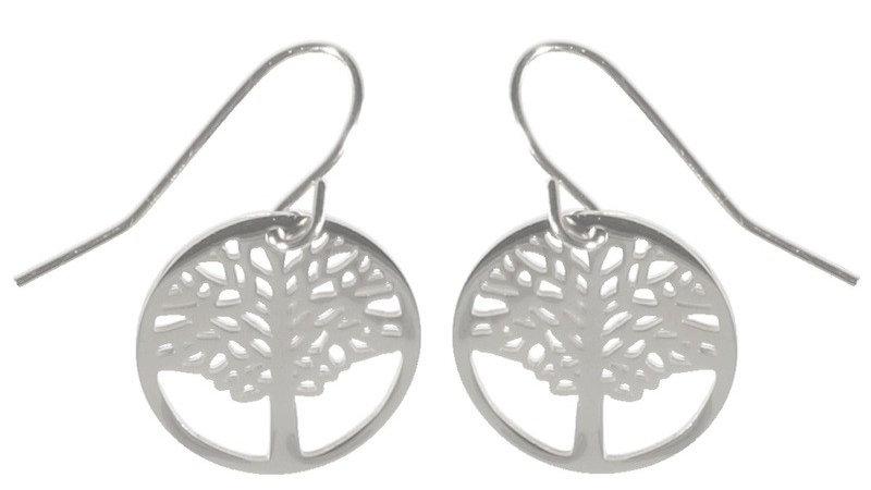 Boucles d'oreilles pendantes arbre de vie argenté