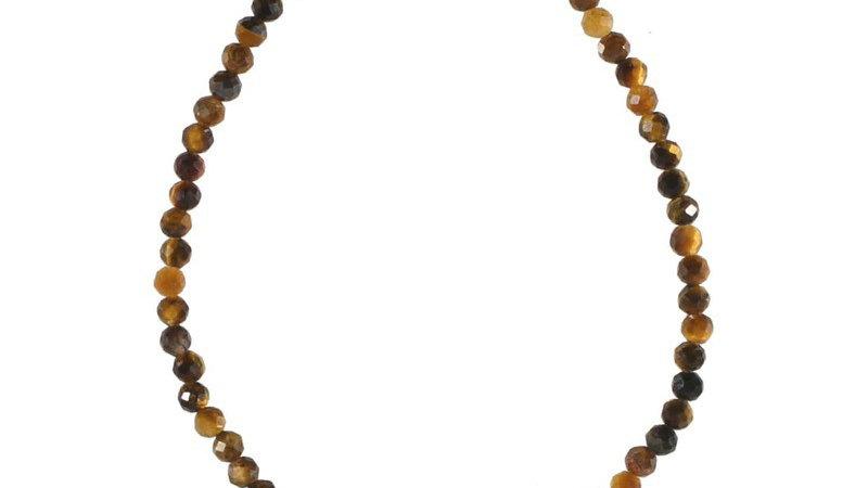 """Bracelet """"Perle oeil de tigre et soleil"""" doré"""