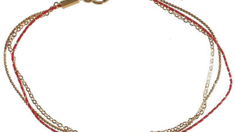 """Bracelet """"textile rouge demi soleil"""" doré"""