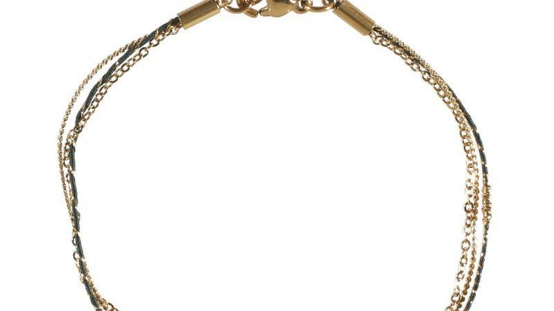 """Bracelet """"Textile noir demi soleil"""" doré"""